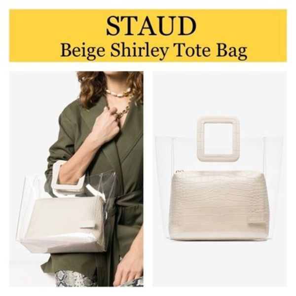 【STAUD】Shirley Tote Bag ベージュ PVCトート!送料込み