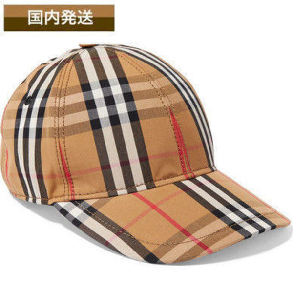 送料関税込☆Burberry☆Checked cotton-canvas baseball cap