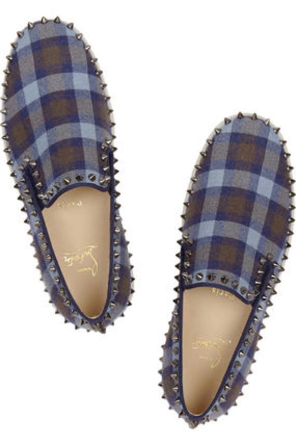 UK限定 15春 ルブタン ♥ Pik Boat studded plaid slip-on