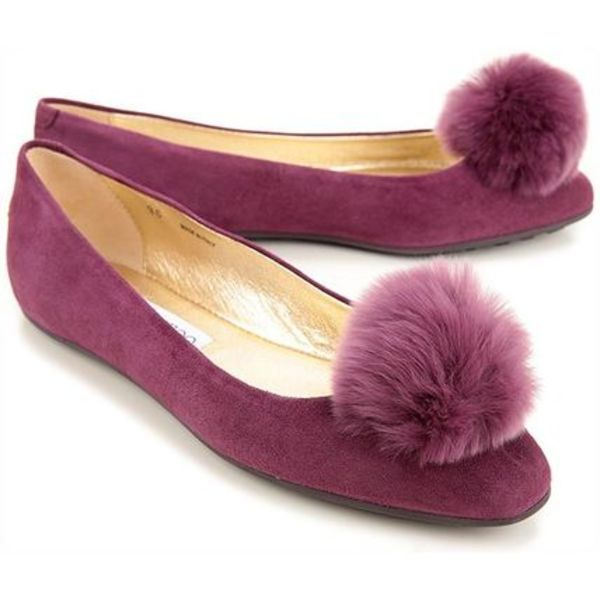 送料関税込/SALE/Jimmy Choo Wyatt Suede Pom Pom Ballet Purple