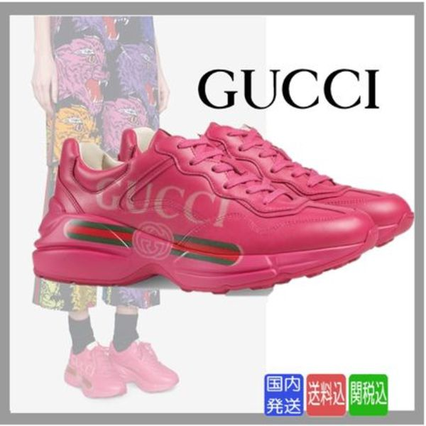 完売必至★送料関税込★GUCCI★Rhyton Sneakers Fuchsia Leather