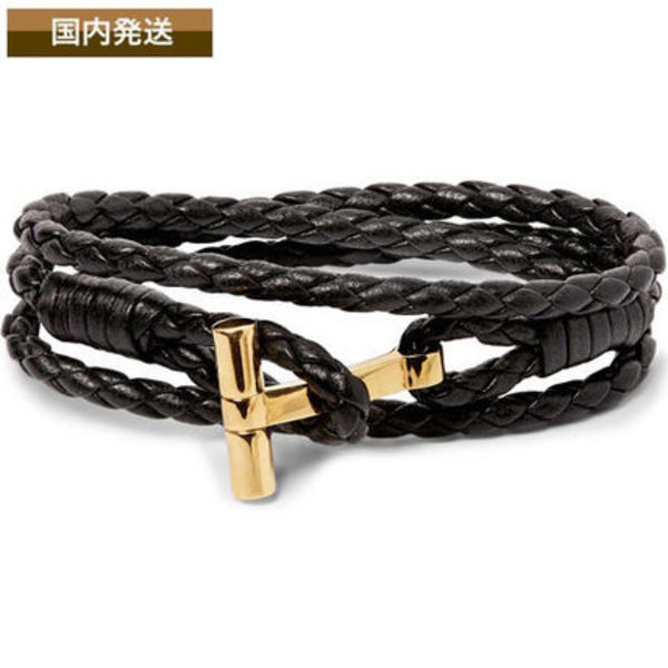 送料関税込☆TOM FORD☆Woven Leather And Gold Wrap Bracelet