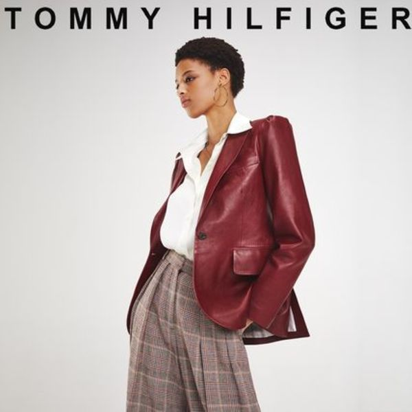 TOMMY HILFIGER ZENDAYA LEATHER JACKET 国内買付 ギフトにも