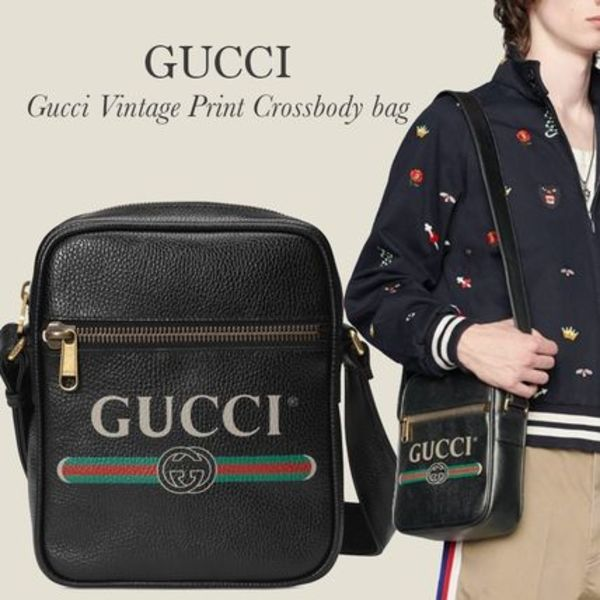 GUCCI Gucci vintage print grained leather crossbody bag