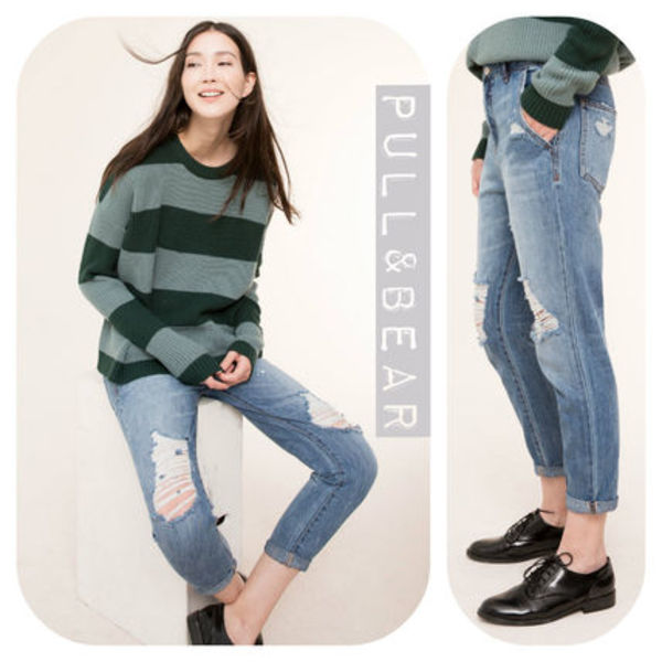 【期間限定】PULL & BEAR♪BAGGY RIPPED JEANS★