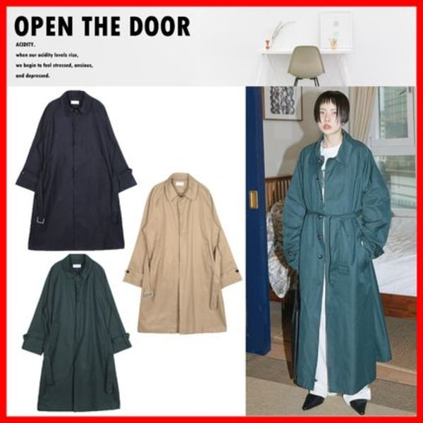 人気★【OPEN THE DOOR】★Over-Fit Single Trench Coat★3色★
