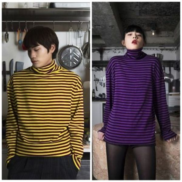 日本未入荷 CLIF WEARのBTS着用TURTLE NECK STRIPE TEE 全2色