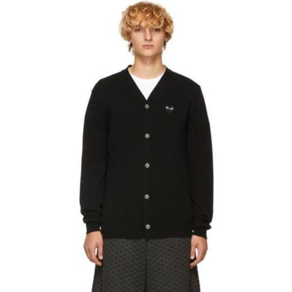 【Comme des Garcons】Men's Fit Heart Patch V-Neck Cardigan