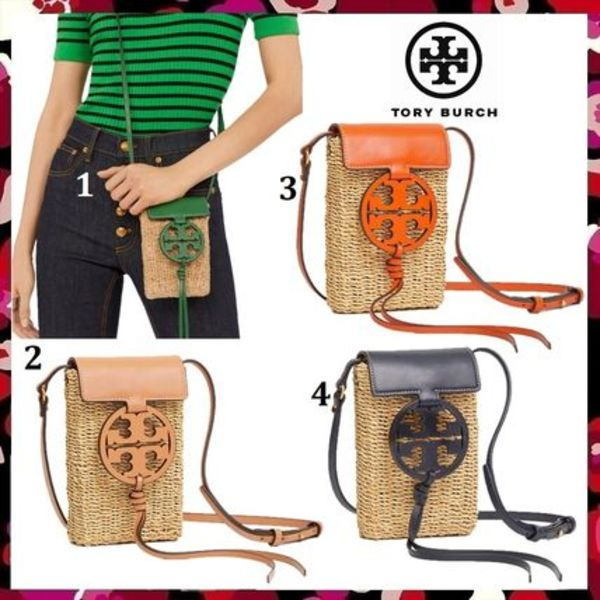 新作 セール Tory Burch Miller Straw Phone Cross Body