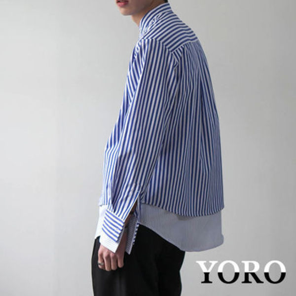 YORO★韓国の人気★OVERFIT STRIPE LAYERED SHIRT 2色
