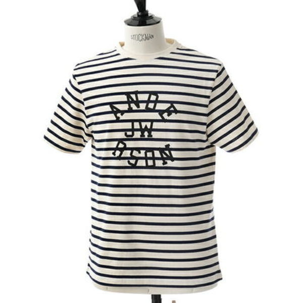 JW ANDERSON JE02418F 半袖Tシャツ ボーダー柄 OFFWHITE