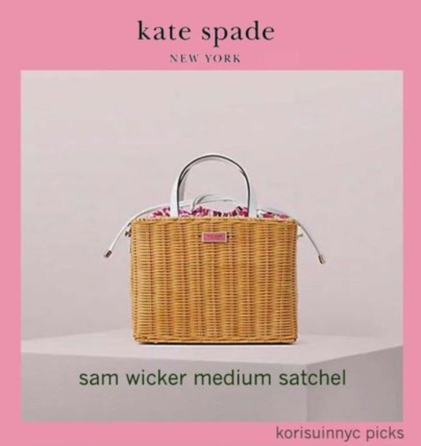 新作*KATE SPADE NY*SAM WICKER MEDIUM SATCHEL バスケット