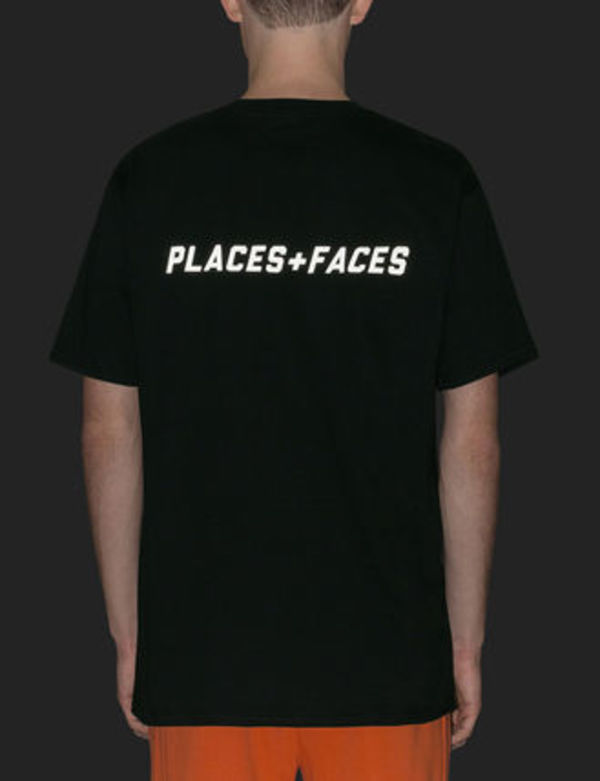 Places+Faces Logo Reflective tee リフレクターロゴ Tシャツ