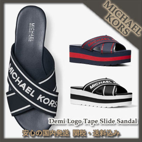 MICHAEL KORS☆Demi Logo Tape Slide Sandal 国内発送 関税込
