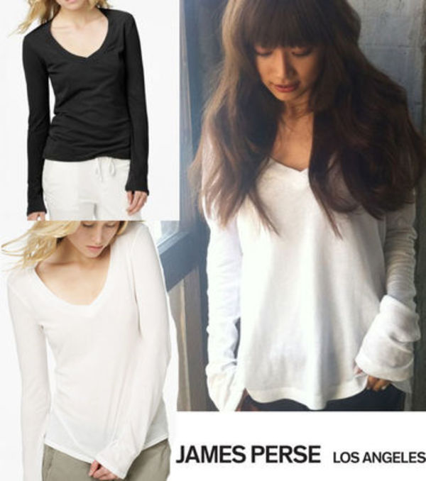 JAMES PERSE Vネック長袖 TシャツRelaxed Casual