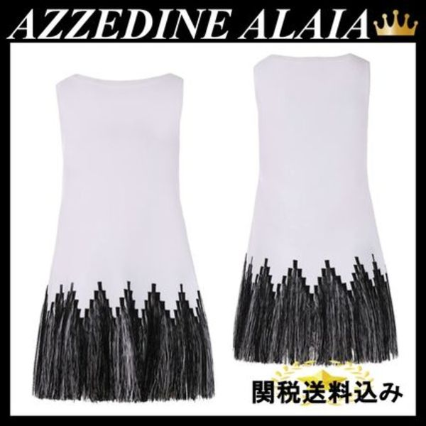ALAIA STRETCH KNIT SLEEVELESS DRESS WITH FRINGES