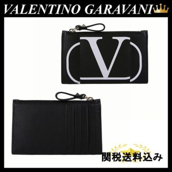 VALENTINO VLOGO ZIP CARD CASE IN SMOOTH LEATHER