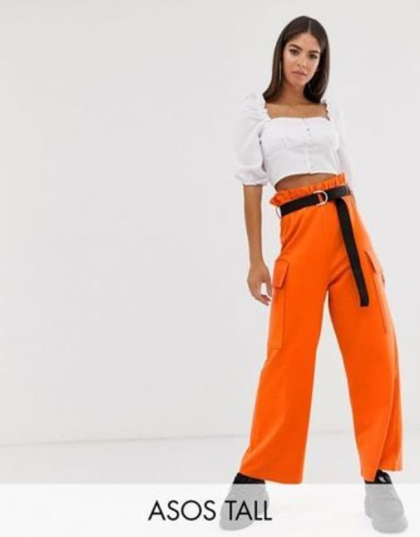 DESIGN Tall utility culotte with pockets and webbing belt