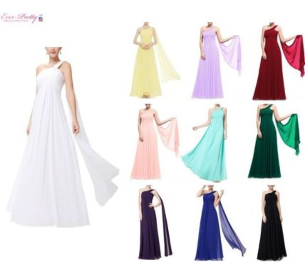Ever-Pretty*One Shoulder Ruffles Long Dress (全12色)