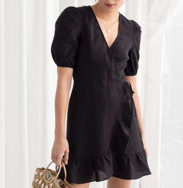 """& Other Stories"" Puff Sleeve Linen Wrap Mini Dress Black"