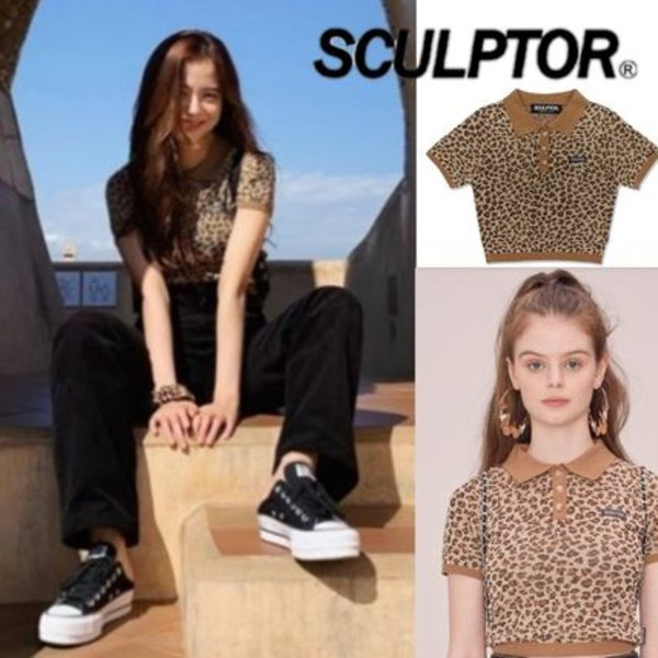 BLAKPINKジス着用☆SCULPTOR☆Leopard Polo Knit Top