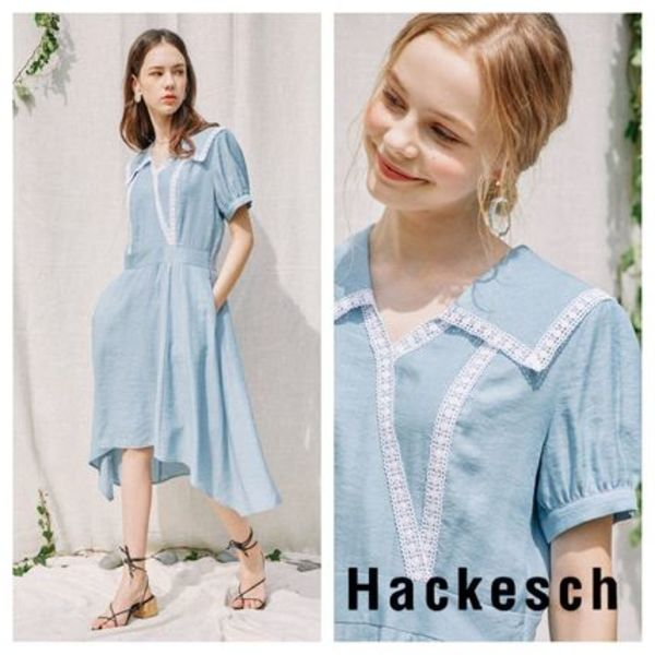 【Hackesch】Icon Lace Dress_River Sky
