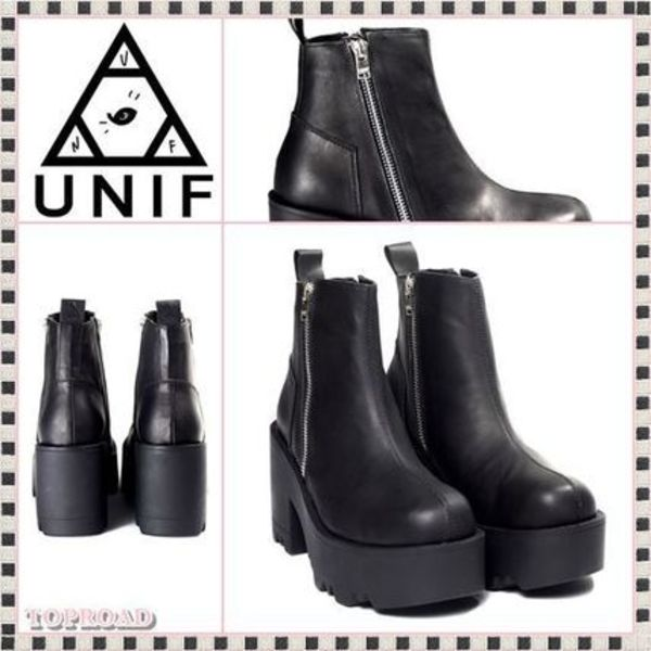 おしゃれ度UP☆UNIF☆Rival Leather Platform ブーツ