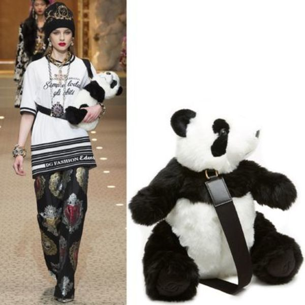 18-19AW DG1808 LOOK24 FAUX FUR PANDA BACKPACK