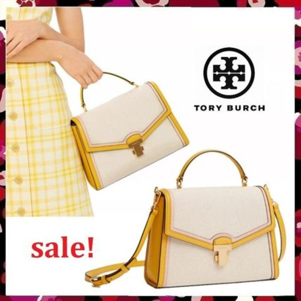 セール 新作 Tory Burch Juliette Canvas Top Handle Satchel