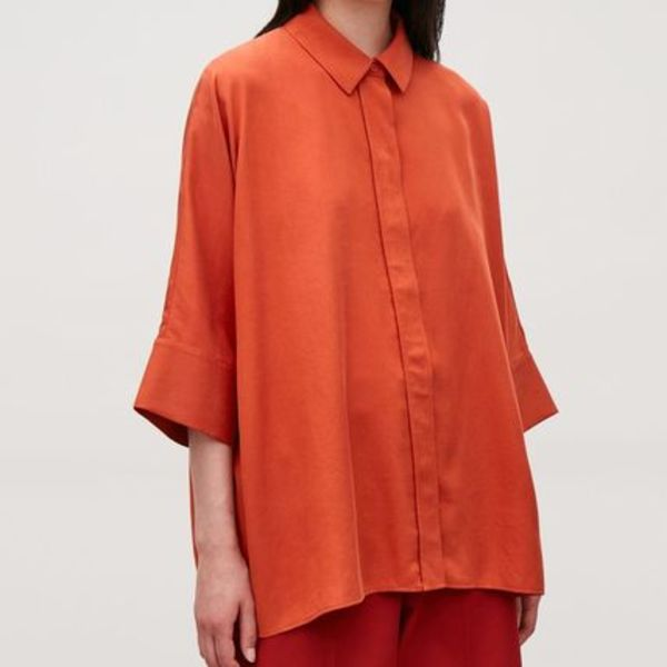 """COS"" DRAPED WIDE-FIT SHIRT ORANGE"
