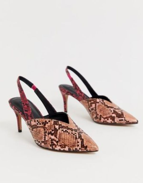 ASOS DESIGN Savannah slingback kitten heels in mixed snake