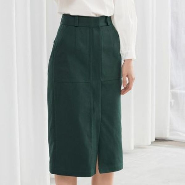"""& Other Stories"" Stretch Cotton Pencil Skirt Green"
