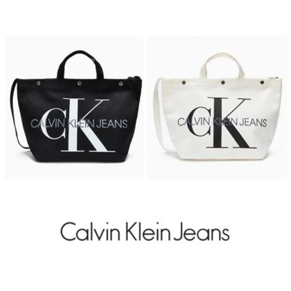 Calvin Klein★Cotton Canvas Utility Button トートバッグ