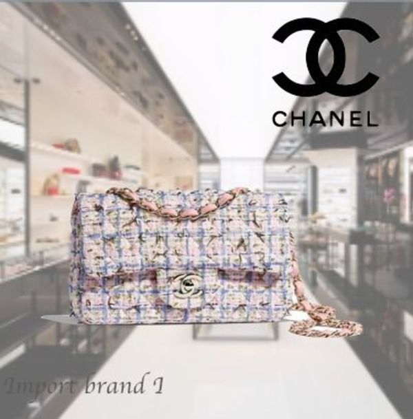 【CHANEL】 Mini flap bag Tweed & gold metal