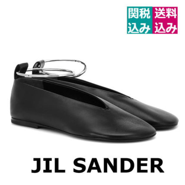 関税込☆JIL SANDER☆ Leather ballet flatsブラック