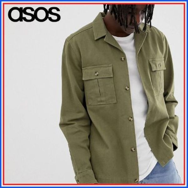 ASOS◆overshirt in khaki with double pockets◆カーキ