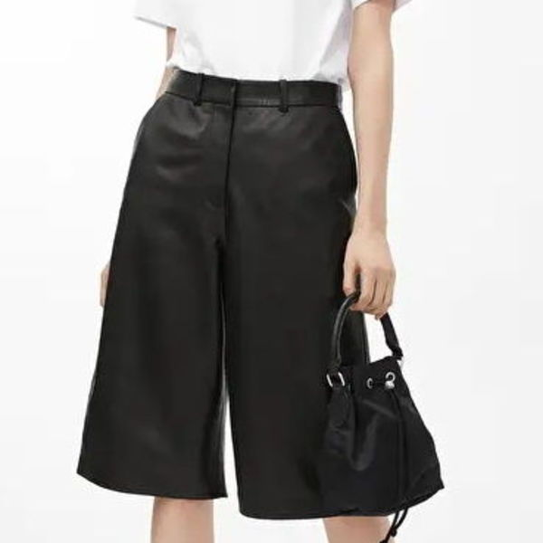 """ARKET""  Leather Culottes Black"