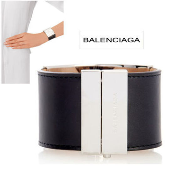BALENCIAGA Marble-effect plate leather cuff