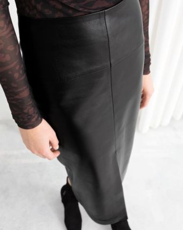 """& Other Stories"" Front Slit Leather Midi Skirt Black"