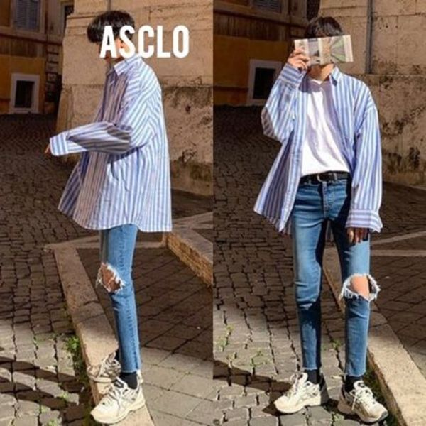 [送料込] ASCLO◆Bell Striped Shirt (2color)_韓国発