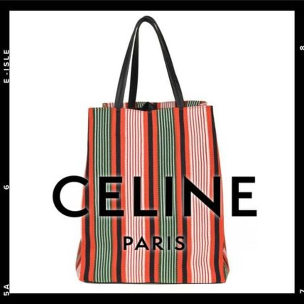 Sale【CELINE】Striped canvas shopping bag