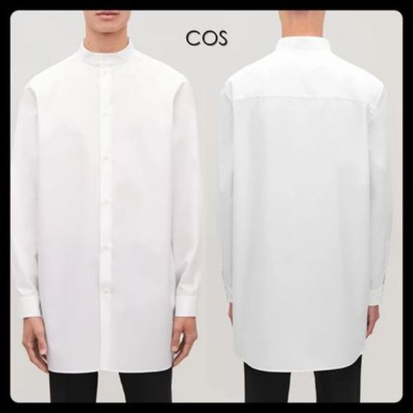 【COS】STAND-COLLAR LONG COTTON SHIRT シャツ 白