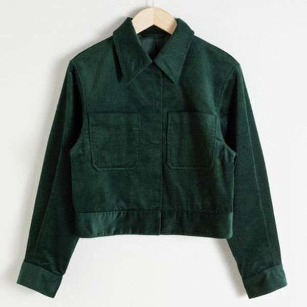 & Other Stories - Cropped Corduroy Workwear Jacket Green
