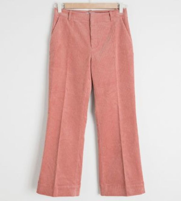 """& Other Stories"" Cropped Wide Corduroy Trousers Pink"