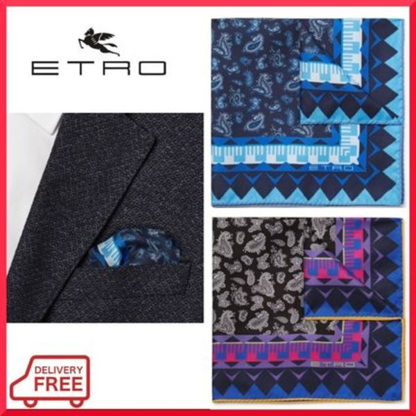 【ETRO】 ペイズリー柄 シルク ポケットチーフ  関税・送料込み