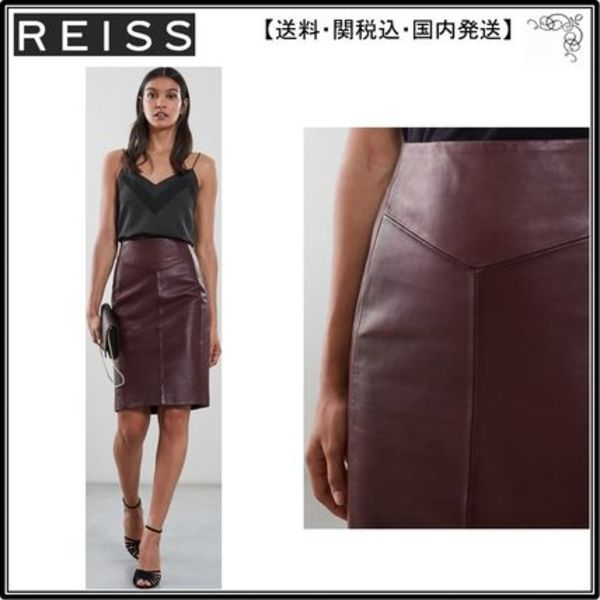 【海外限定】REISS スカート☆MEGAN LEATHER PENCIL SKIRT