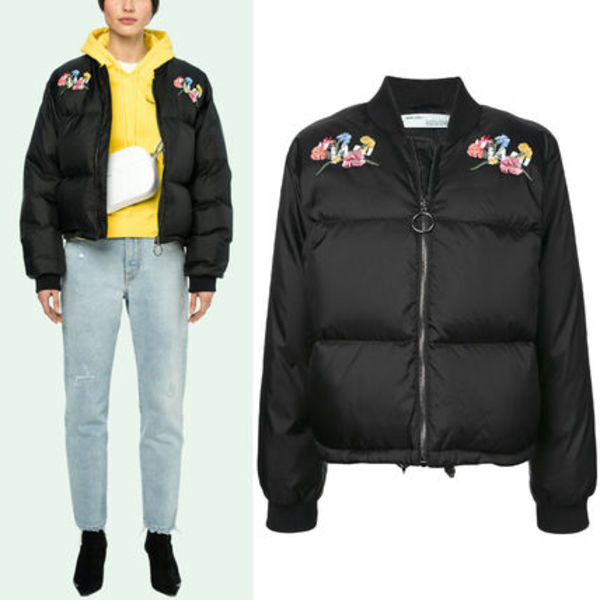 18-19AW OW079 BLACK FLOWERS PUFFER BOMBER JACKET