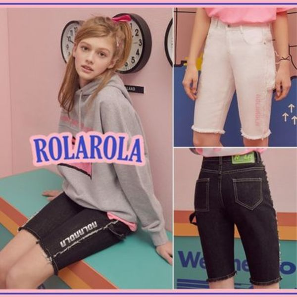 rolarola★FRINGE HALF DENIM PANTS