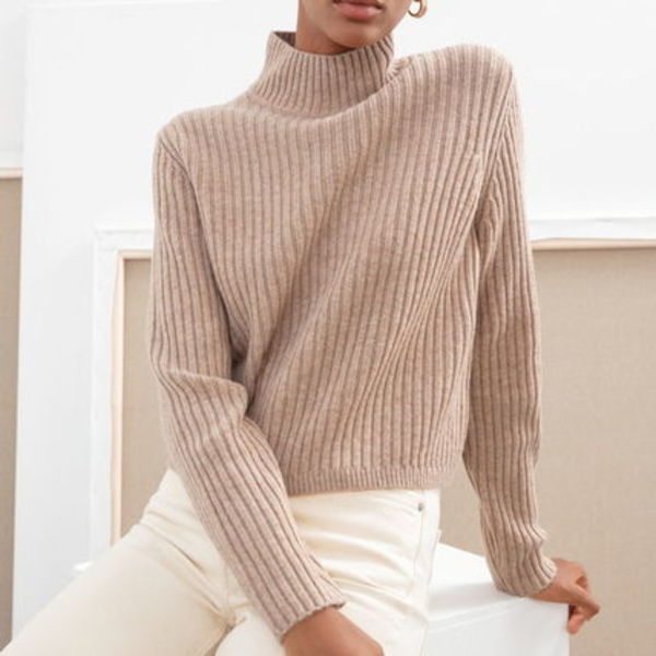 """& Other Stories"" Ribbed Wool Relaxed Turtleneck Beige"