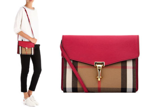 15AW B035 BURBERRY small house check and leather cross-body